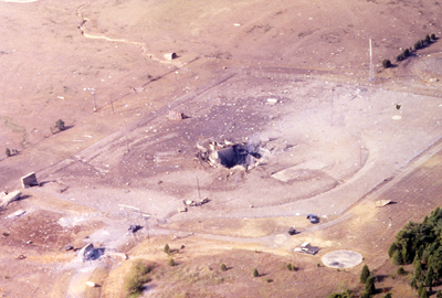 Aerial view of the wreckage following the explosion near Damascus. (Photo courtesy of the Titan Missile Museum in Sahuarita, Ariz.)