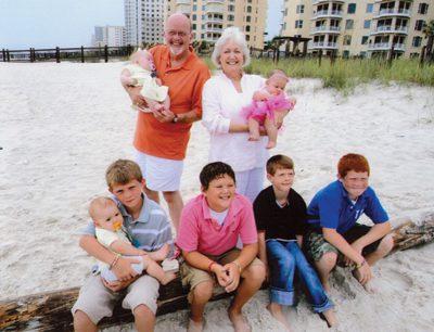 Jackson Williams (front, from left), Cain Newton, Garrett McCollum, Lando Newton and Talon Newton; Mary Helen Rose Faulkner (back) grandparents Don and Nancy Bingham and Ellie Bingham.