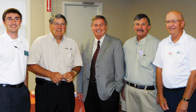 Bryan Greathouse, Edward Jones Investments; Charles Penick, president, Petit Jean State Bank; Dr. Larry Davis, chancellor at the University of Arkansas Community College at Morrilton; Conway County Judge Jimmy Hart; and John Gibson, president of the Morrilton Area Chamber of Commerce.