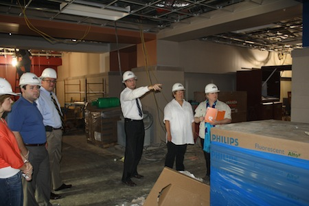 Dr. Greg Murry, superintendent of the Conway School District, explains the layout for the new high school.