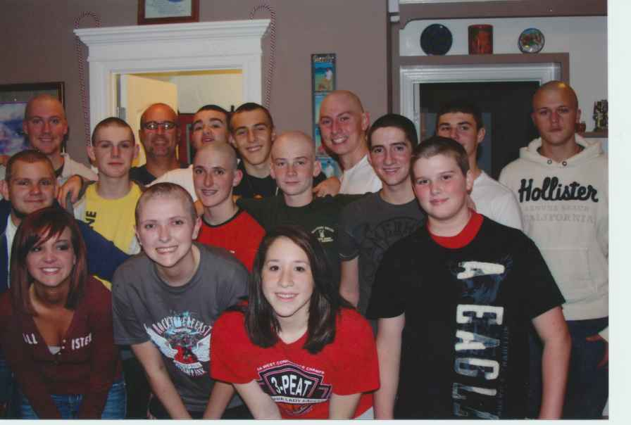 Colton and other Vilonia students show their support for a classmate with cancer.