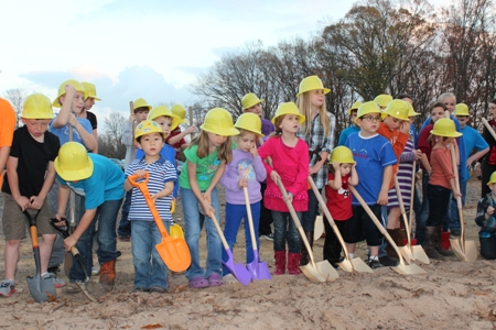 Children did the honors at the ground-breaking ceremony for the new worship center for Second Baptist Church.