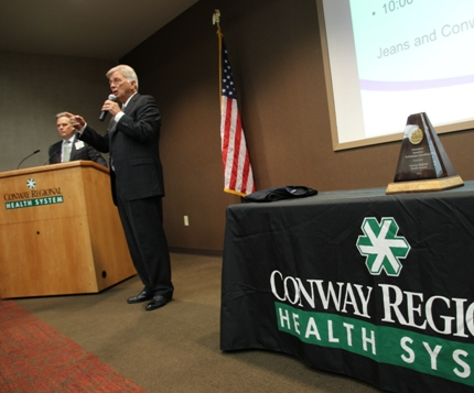 Gov. Beebe congratulates Conway Regional on receiving the Governor's Award for Performance Excellence at a ceremony in Conway.