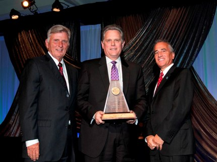 Gov. Mike Beebe (from left), Conway Regional Health System President/CEO Jim Lambert and Dr. Mark Enderle, medical center director of Veterans Healthcare Center of the Ozarks in Fayetteville, at last week's awards presentation in Little Rock.