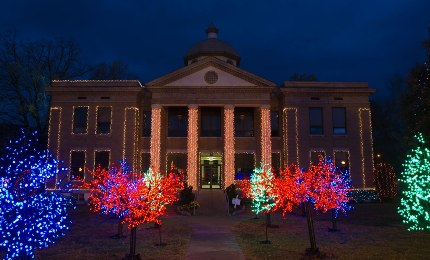 The Cleburne County Courthouse in Heber Springs is decked out again this year as part of the Trail of Holiday Lights in Arkansas. (Photo courtesy of Arkansas Department of Parks & Tourism)