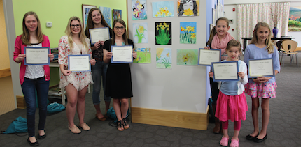 Winners in the Daffodil Daze Art Contest: Brynn Ward (from left), Skylar Glover, Brandy Everett, Haley Ashcraft, Kori Williams, Scarlet Pierce and Maggie Casto.