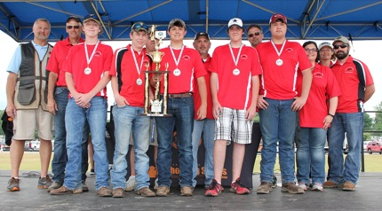East Regional Senior Second Place Cabot: Noah Simmons (front, from left), Kolbe Garner, Jaret Smith, Andrew Murtishaw, Lane Hill; AYSSP Coordinator Chuck Woodson (back), Coach Jerry Hill, Dan Simmons, Clay Whiting, Dan Gentry, Tracy Hill, Mary Murtishaw and Brad Staley.