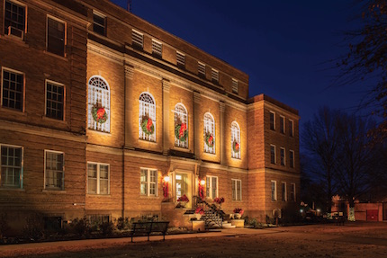 The Faulkner County Courthouse adorned for the holidays.