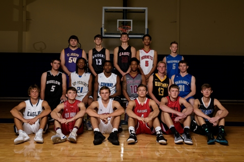 Members of the 501 Basketball Team: (front, from left) David Belvardi (Conway Christian), Ethan Hill (Nemo Vista), Tyler Kersey (Sacred Heart), Brady Palmer (Harding Academy), Kaleb Ramey (Searcy), Judson Woodfin (Faulkner Co. Falcons); (middle) Austin Neumeier (Bigelow), Jahcoree Ealy (Guy-Perkins), Kendarious Smith (Conway), Juwan Moore (Morrilton), Trey McGhee (Quitman), Kanyin Martin (Mt. Vernon-Enola); (back) David Beck (St. Joseph), Garret Finley (Riverview), Matt Stanley (Cabot), Tyren Kutz (Maumelle) and Payden Webb (Greenbrier). The team is sponsored by First Service Bank and First Security Bank. Not pictured: Garrison Branscum (Perryville) and Thomas Zimmerman (Wonderview).  (Mike Kemp photo)