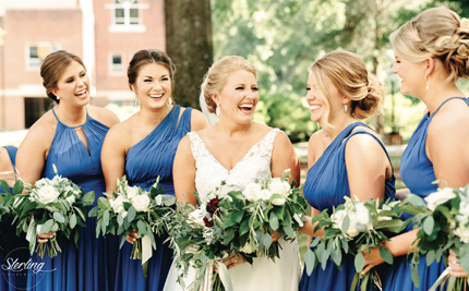 Hannah Harriston (from left), Hannah Troillet, bride Taylor Ross Antoine, Rachel Ross and Natalie Ross.