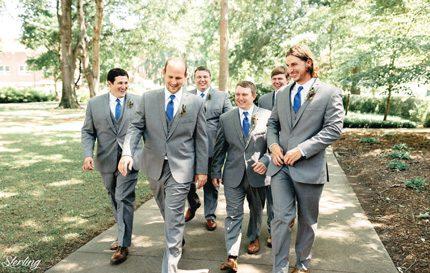 Caleb Seiter (from left), Josh Thessing, Josh Antoine, groom Daniel Antoine, Mike Pfeiffer and Jacob Fenske.