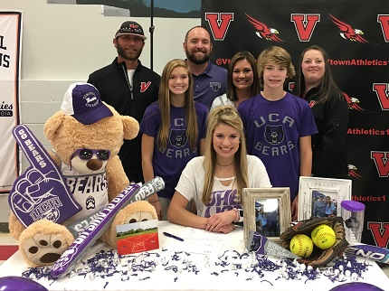 Vilonia's Callie Eary was joined by family and friends as she signed to play softball for the University of Central Arkansas.