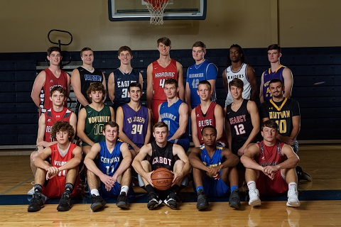 Members of the 501 Basketball Team: (front, from left) Hunter Neely (Vilonia), Scott Ashby (Conway), Jalen Brown (Cabot), Tre Minton (Guy-Perkins), Jacob Bremmon (Heber Springs); (middle) Ethan Hill (Nemo Vista), Zane Haney (Wonderview), Spencer Pope (St. Joseph), Kanyin Martin (Mount Vernon-Enola), Steele Harris (Beebe), Joe-Todd Smith (Searcy), Hunter McClung (Quitman); (back) Andrew Poole (Sacred Heart), Benjamin McNair (Faulkner Co. Falcons), Jacob Wood (Conway Christian), Travis Turley (Harding Academy), Tanner Tilley (Greenbrier), J.T. Smith (Riverview) and Ethan York (Mayflower). Not pictured: Rashid Washington (Morrilton). (Mike Kemp photo)