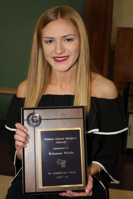 St. Joseph's Brianna Wells received the Father James Beagan Award, the top award for a senior girl on the school basketball team.